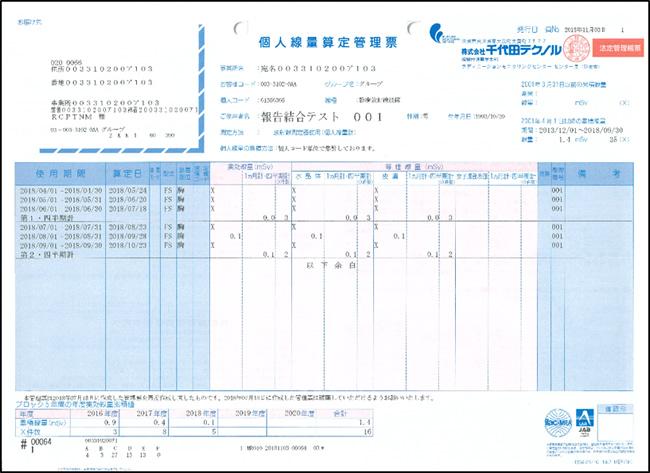 【様式3】個人線量算定管理票
